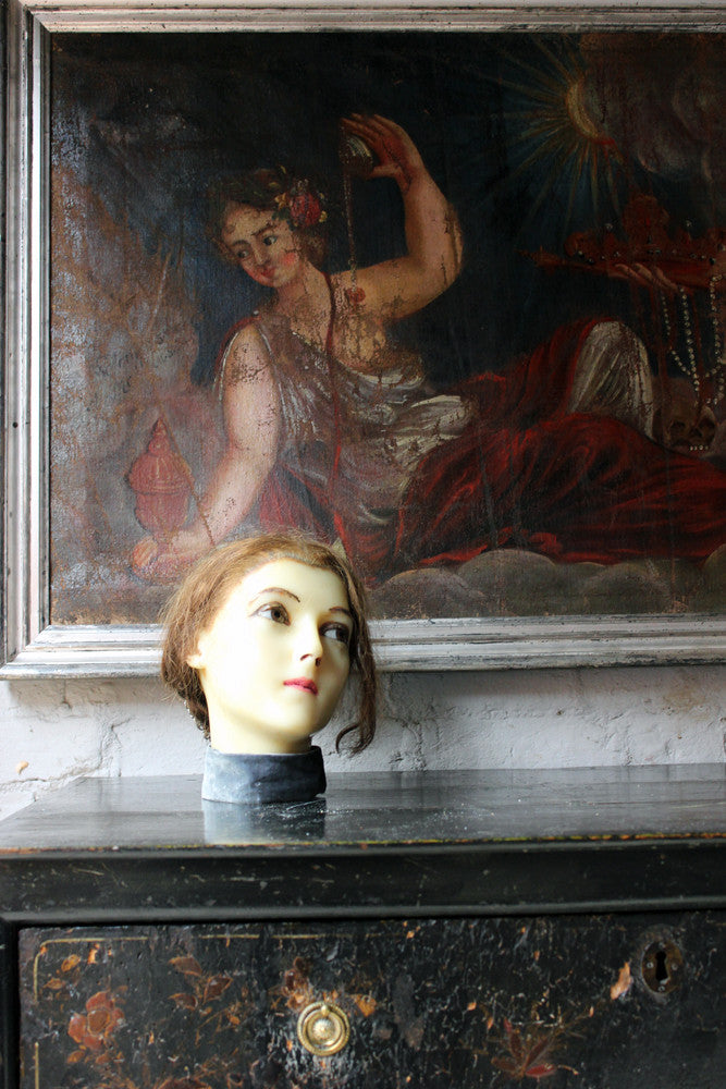 A Good French c.1890 Wax Shop Display Mannequin Head of a Lady