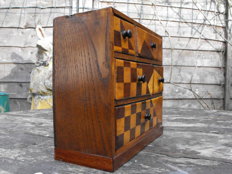 A Fun Early 20thC Miniature Ash & Parquetry Inlaid Chest of Drawers