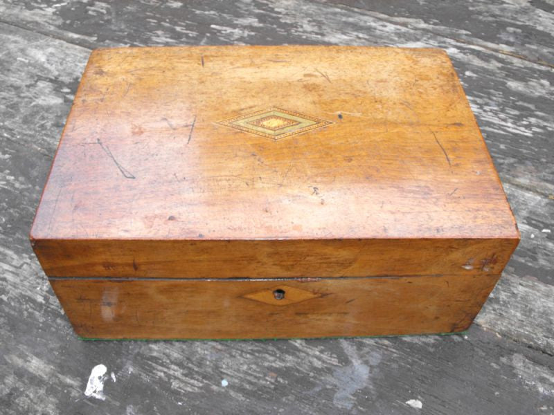 A Pretty Late Victorian Walnut Sewing / Trinket Box with Exotic Inlay