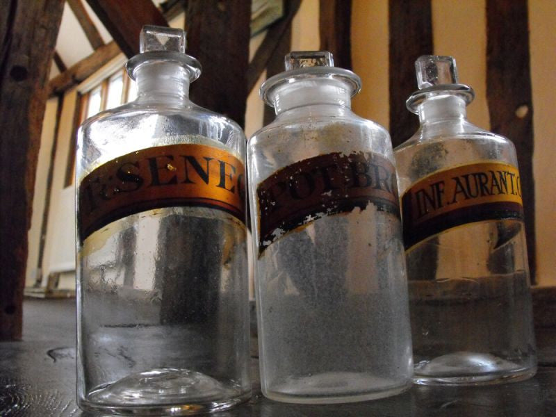 Three Late 19thC Glass Apothecary Bottles with Painted Banners for Potassium Bromide, Infusion of Orange Peel & Senega Root