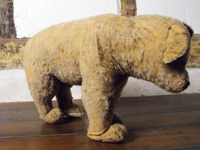 An Early 20thC Vintage Wool Filled Mohair Standing Teddy Bear