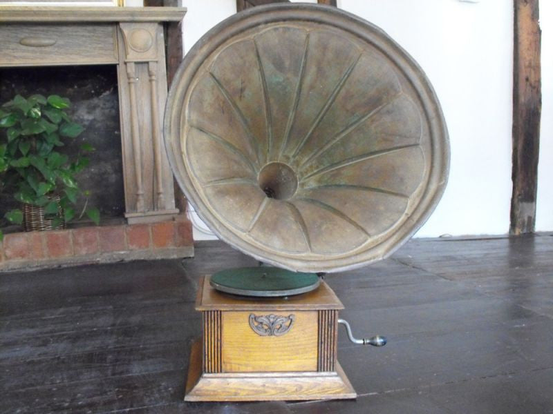 An Edwardian Academy No.2 Gramophone with Tin Horn