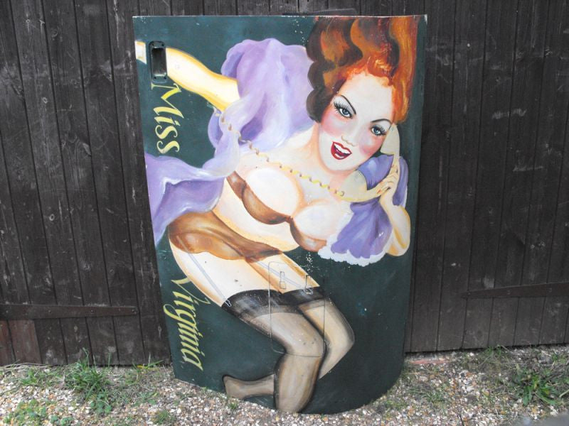 Nose Art; A Wonderful Hand Painted c.1950s Aeronautical Artwork Nose Cone Panel of a Scantily Clad Lady; 'Miss Virginia'