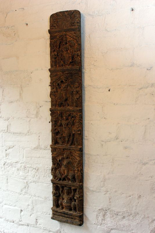 A Beautiful 19thC Gupta Style Indian Carved Wooden Rectangular Panel