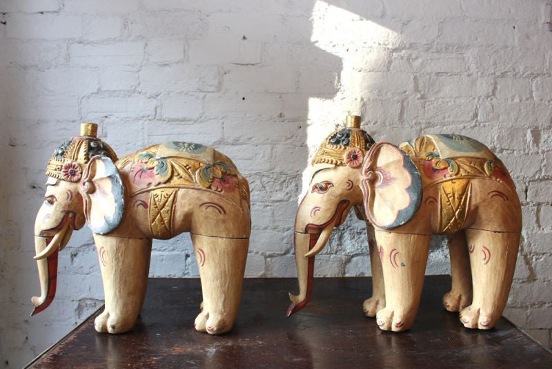 A Decorative Pair of Large Polychrome Carved Vintage Wooden Indian Elephants