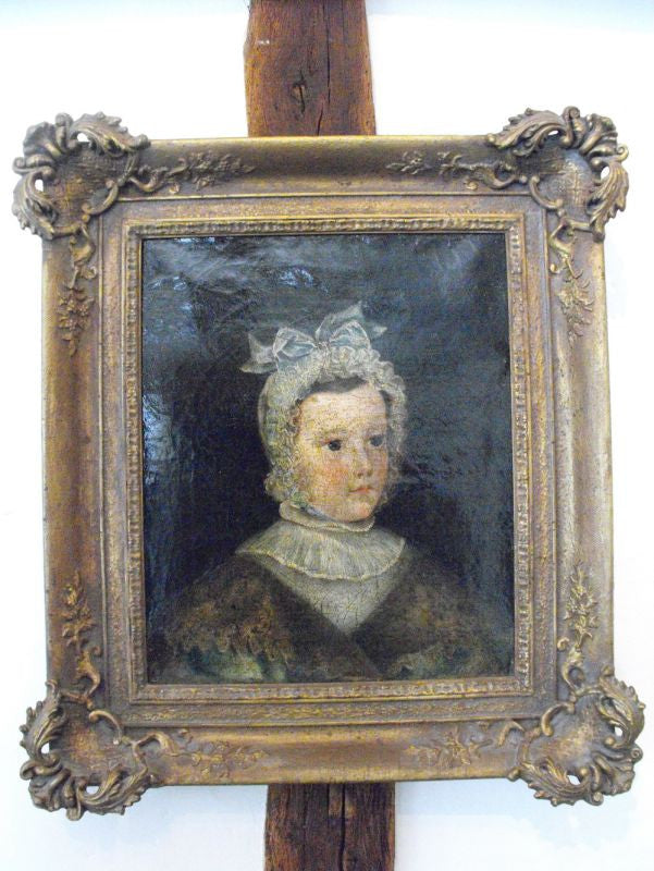 An Early 19thC French Portrait of a Young Girl, in a Near Contemporary Moulded Gilt Frame