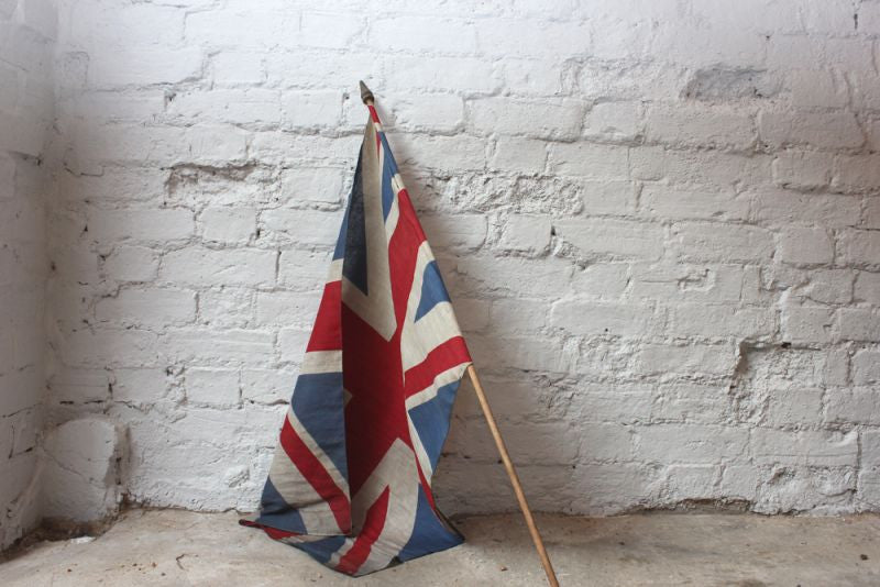 An Early 20thC Antique Union Jack Flag on Pole c.1910