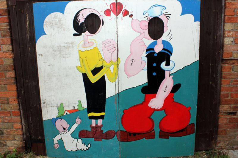 A Superb Vintage Polychrome Painted Fairground/Seaside Popeye & Olive Oyl Photo Board c.1960
