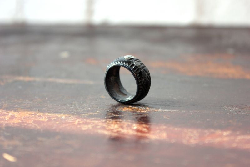A Unique & Unusual Folk Art Whitby Jet Sweetheart Ring c.1860