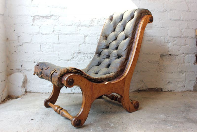 A Very Original Country House Victorian Oak X -Framed Button Back Leather Chair c.1850