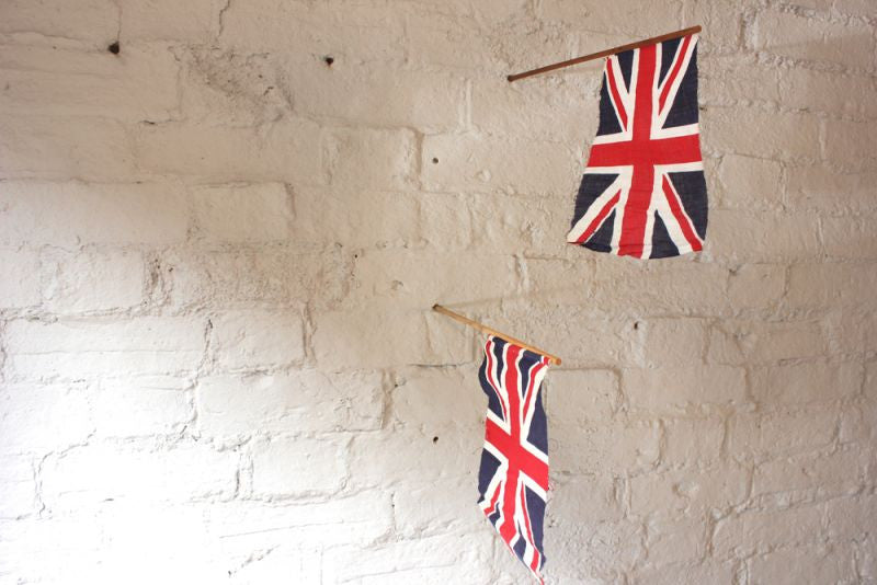 A Pair of Vintage Car or Hand-Held Union Jack Flags c.1930-40