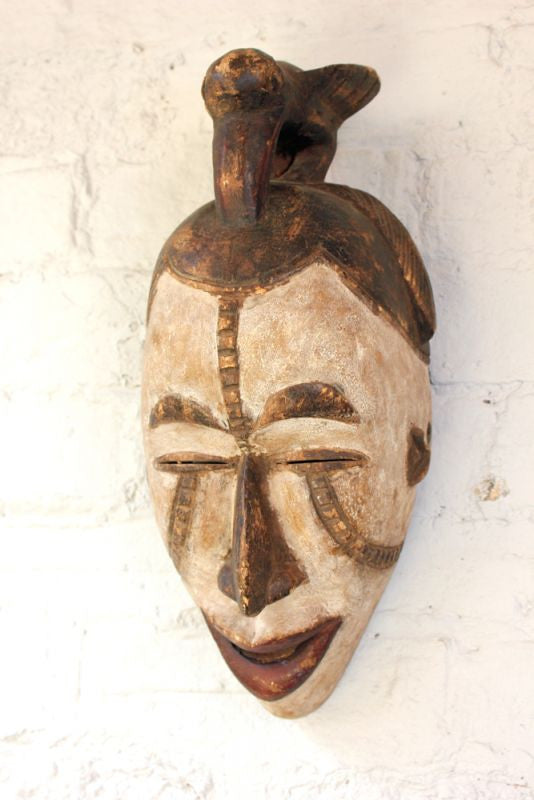 An Attractive Mid 20thC North African Polychrome Carved Wooden Ceremonial Face Mask
