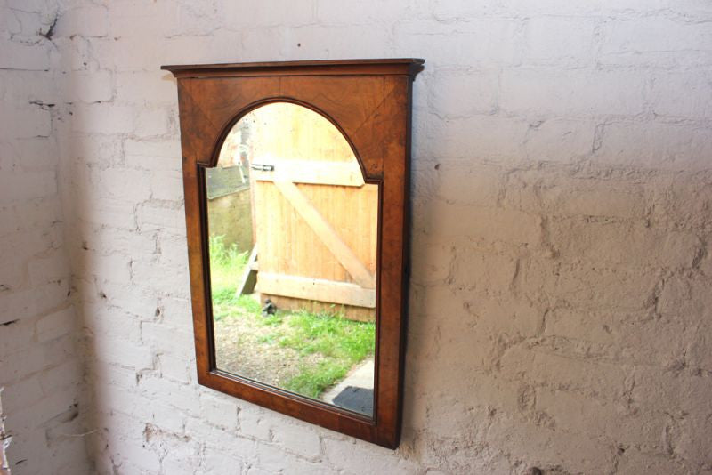 A Good Quality 19thC Figured Walnut Wall Mirror