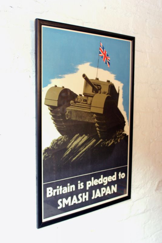 A Fantastic Original c.1940 Vintage WWII Period Poster; Britain is Pledged To Smash Japan