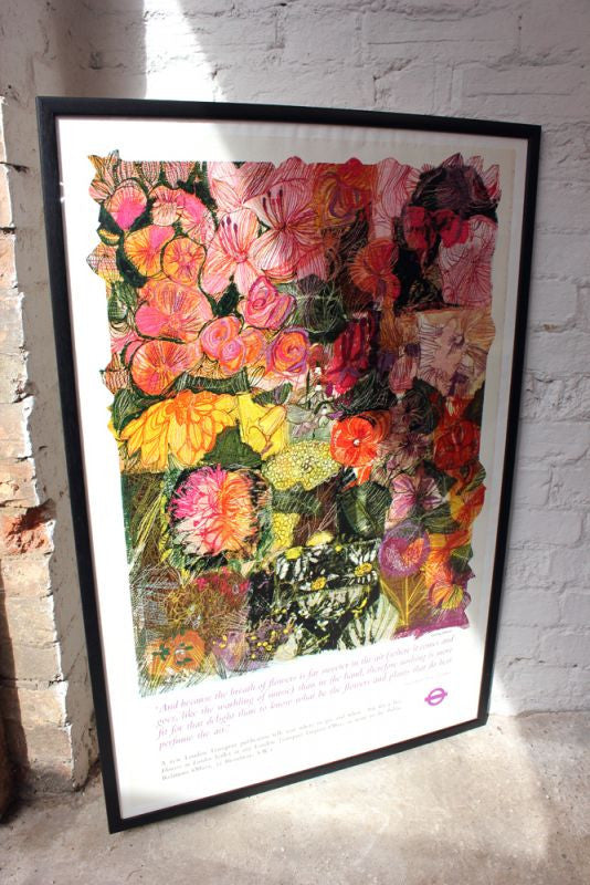 A Large Original c.1968 Vintage London Transport Lithograph Poster by Louise Grose for Flowers in London