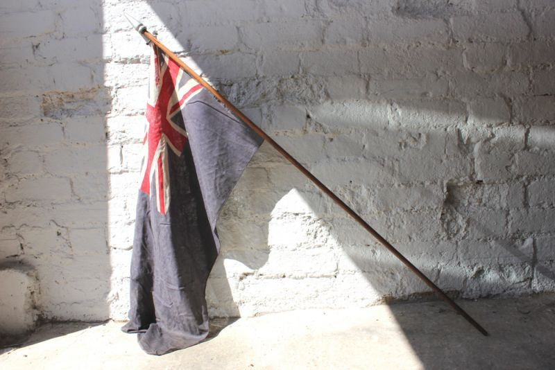 A Scarce British Antique Blue Ensign Union Jack Flag on Pole c.1925