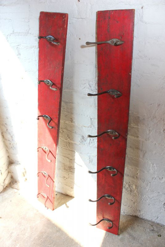 A Super Pair of Large Early 20thC Oak Hanging Coat Hook Racks