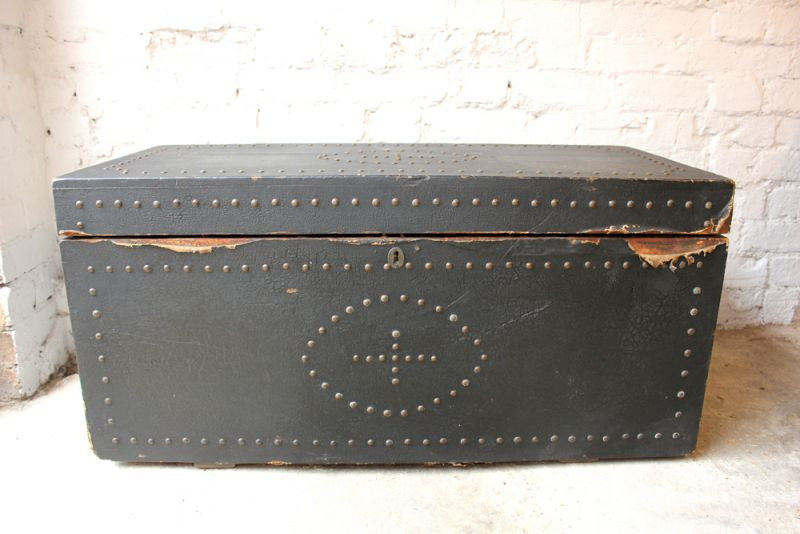 A c.1900 Pine and Ebony Canvas Gothic Studwork Travelling Trunk