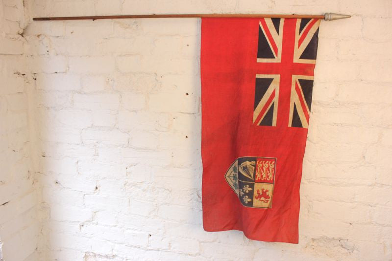 A Super British Empire Early 20thC Canadian Red Ensign Flag Mounted on a Pole
