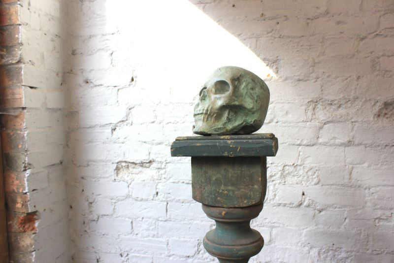 A Contemporary Composition Stone Sculpture of a Human Skull