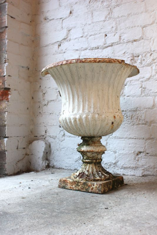 An Attractive 19thC White Painted Cast Iron Tall Campana Urn