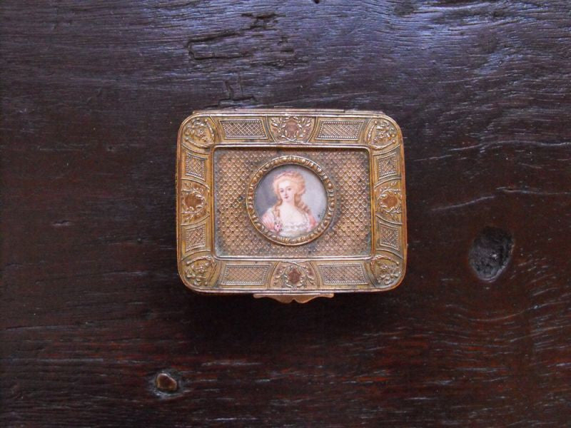 A 19thC Continental Brass Ring Box, the Lid with an Attractive Inset Portrait Miniature Signed 'Perin'