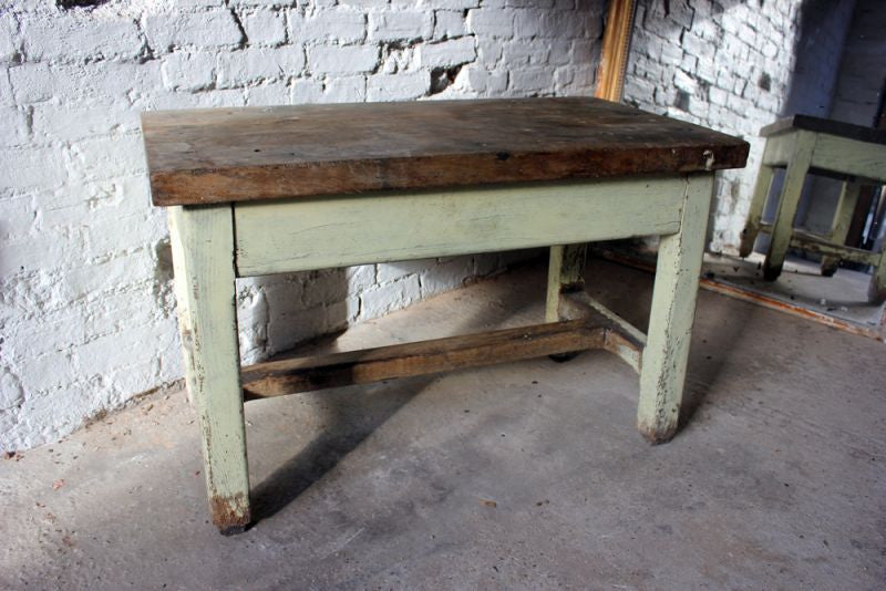 A Charming c.1900 Painted Oak Workbench