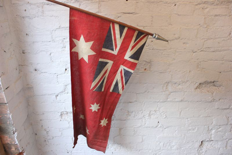 A Splendid British Empire Australian Red Ensign Flag Mounted on a Pole