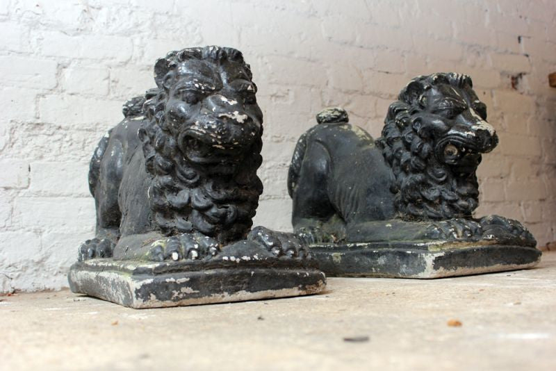 A Striking Pair of Painted Mid 20thC Recumbent Stone Garden Lions