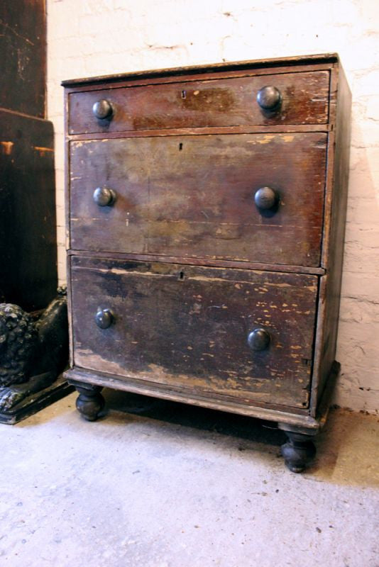An Attractive Small Mid-Victorian Stained Pine Chest of Drawers c.1860-70