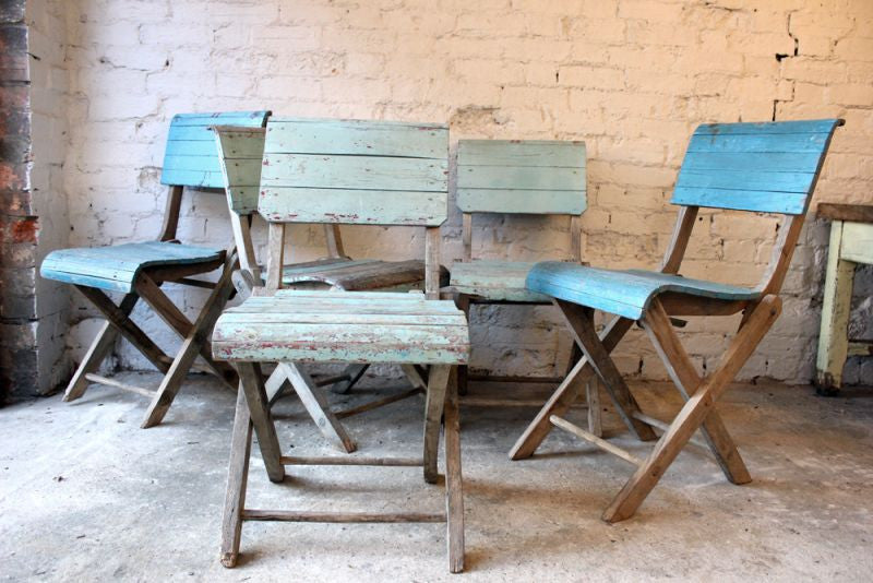 A Super Set of Five Early 20thC Painted Pine Folding Chairs