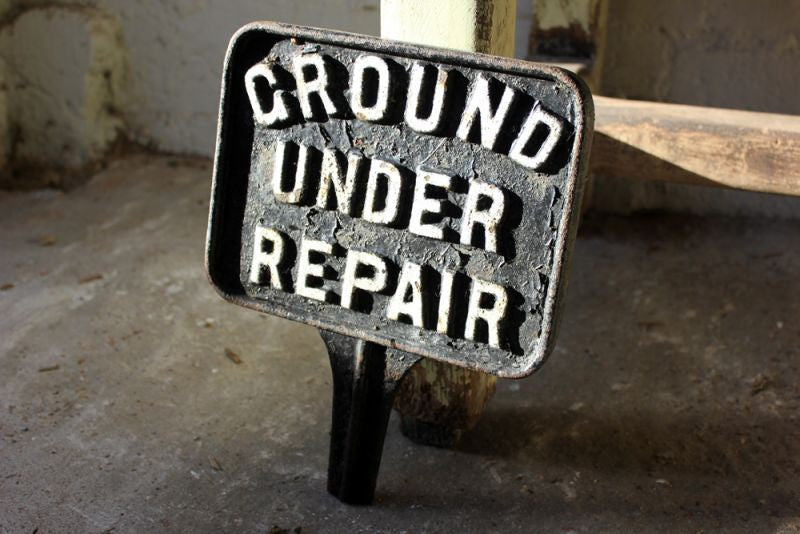 A Rather Fun Mid 20thC Cast Iron Sign; 'Ground Under Repair'