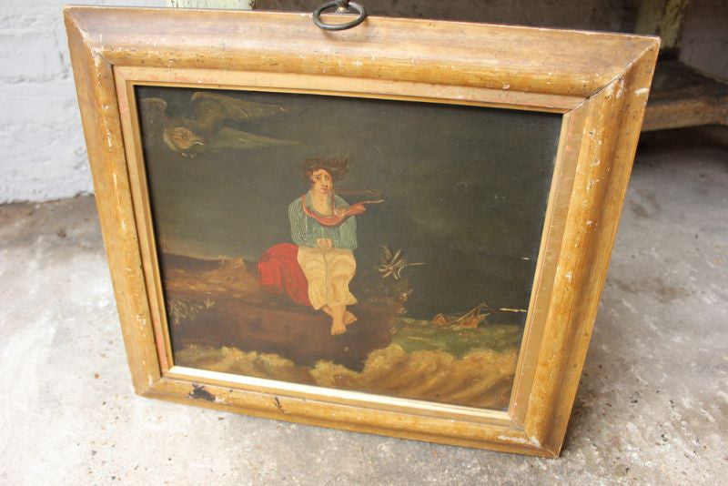 An Interesting c.1831 Naïve School Oil on Panel; 'The Shipwreck`d  Mariner'