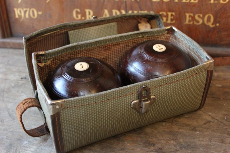 A Quality Pair of Cased c.1900 Lignum Vitae Bowling Woods by Thomas Taylor, Glasgow