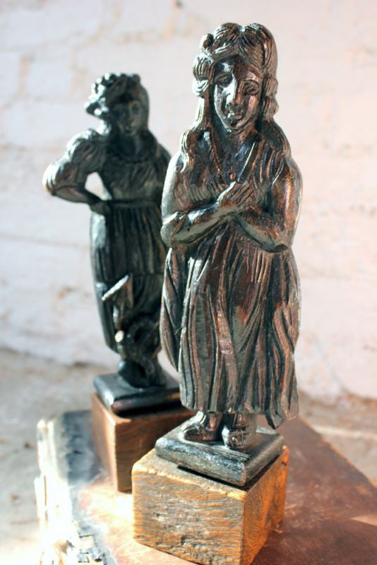 A Wonderful Pair of c.1800 Carved Oak Sailor's Farewell Figures