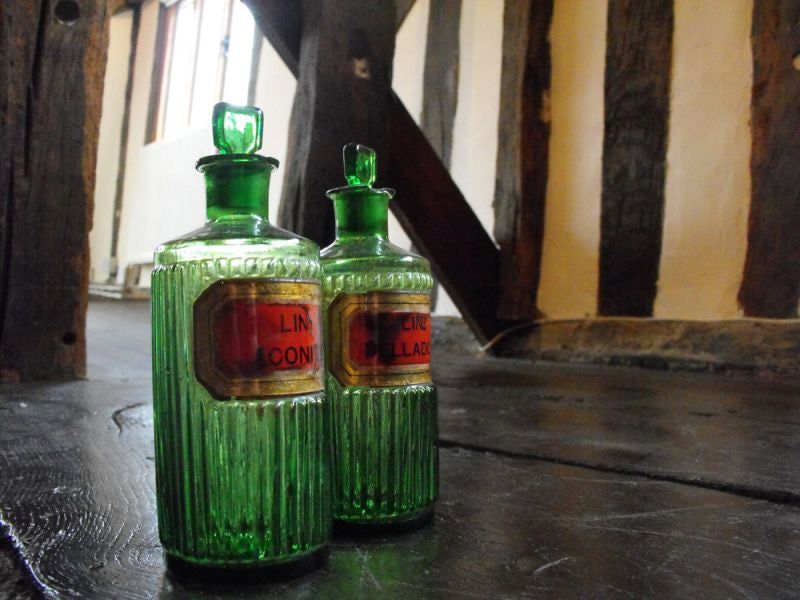 Two Late 19thC Green Glass Apothecary Bottles; Deadly Nightshade & Monkshood