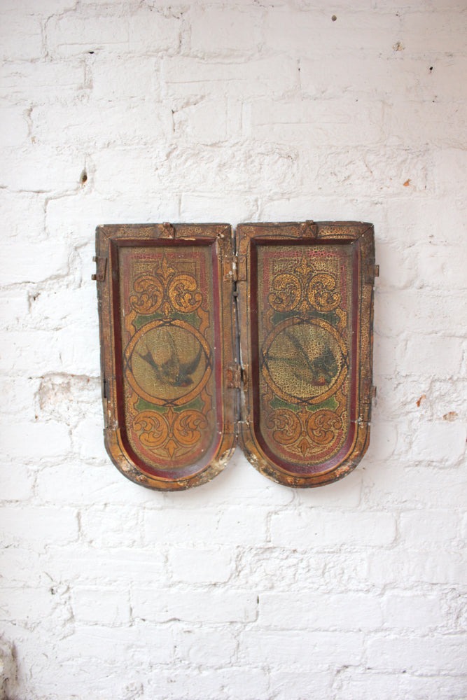 A Fantastic Pair of Hand Painted Fairground Centre Dropper Panels Attributed to W.H.Halstead c.1885