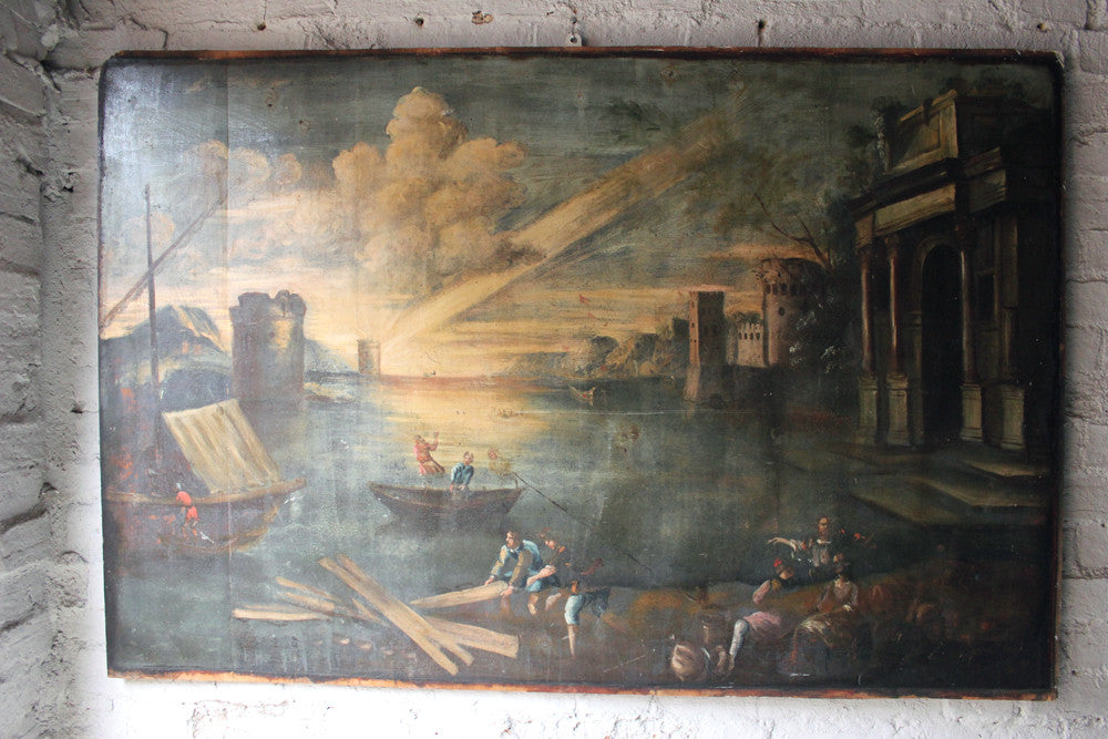 A Very Large 19thC Italian Primitive School Oil on Board
