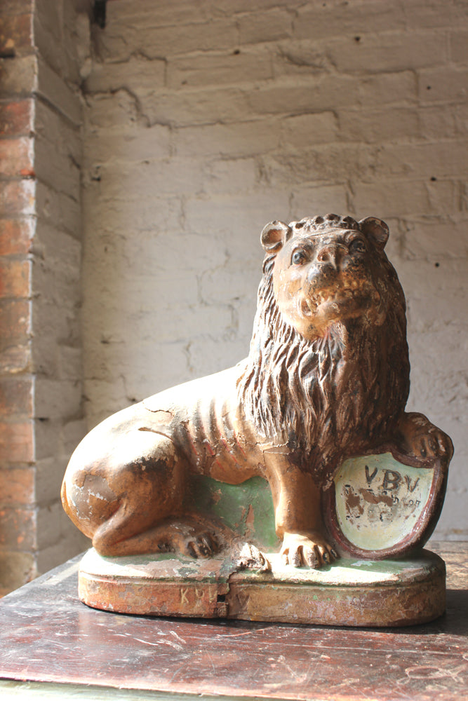 A Highly Decorative 19thC Painted Terracotta Model of a Lion