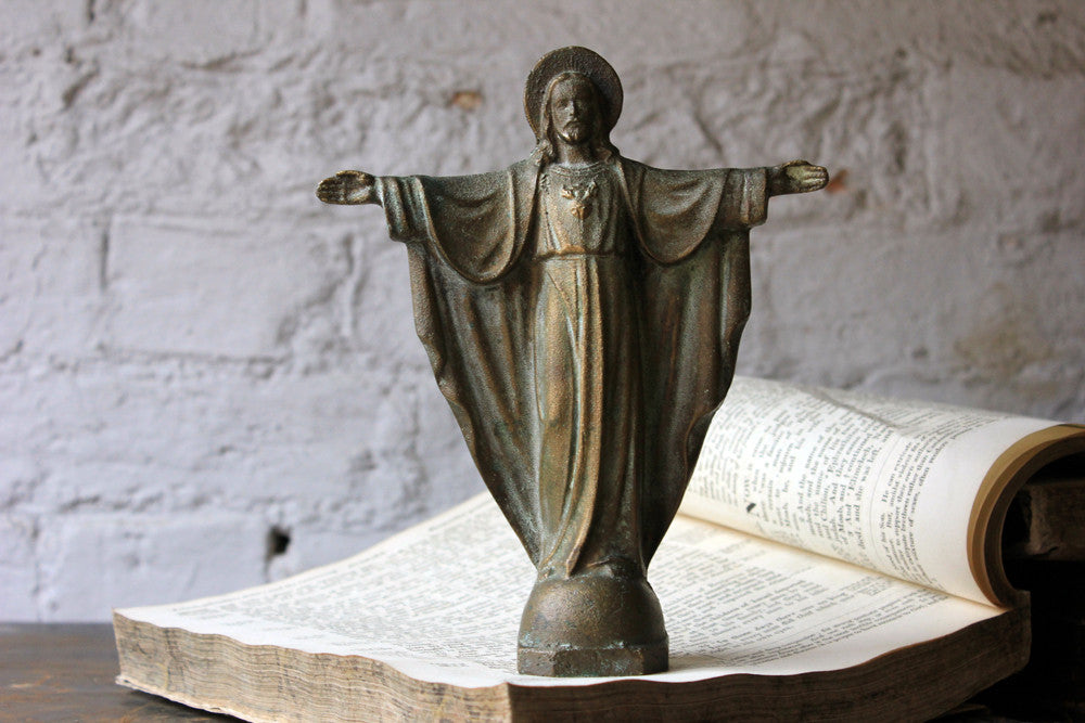 A Good Early 20thC Solid Bronze Figure of The Sacred Heart of Jesus Christ