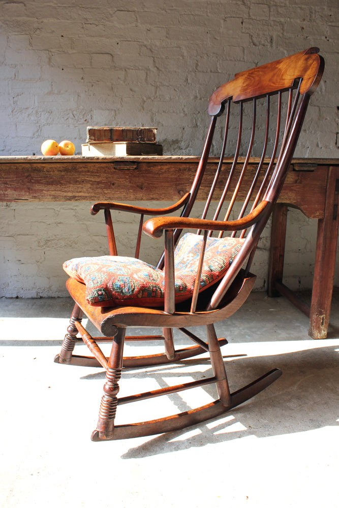A Superb Mid 19thC Elm Boston Rocking Chair