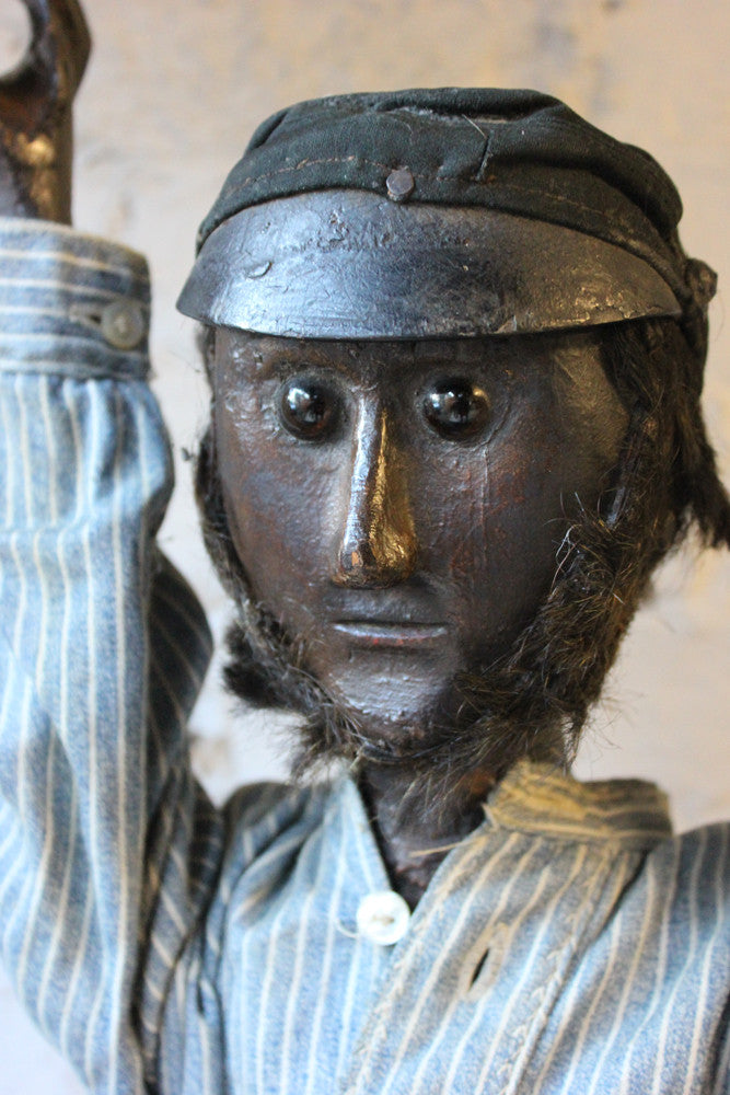 An Interesting Large c.1900 Carved & Painted Wooden Folk Art Figure; 'Andrew'