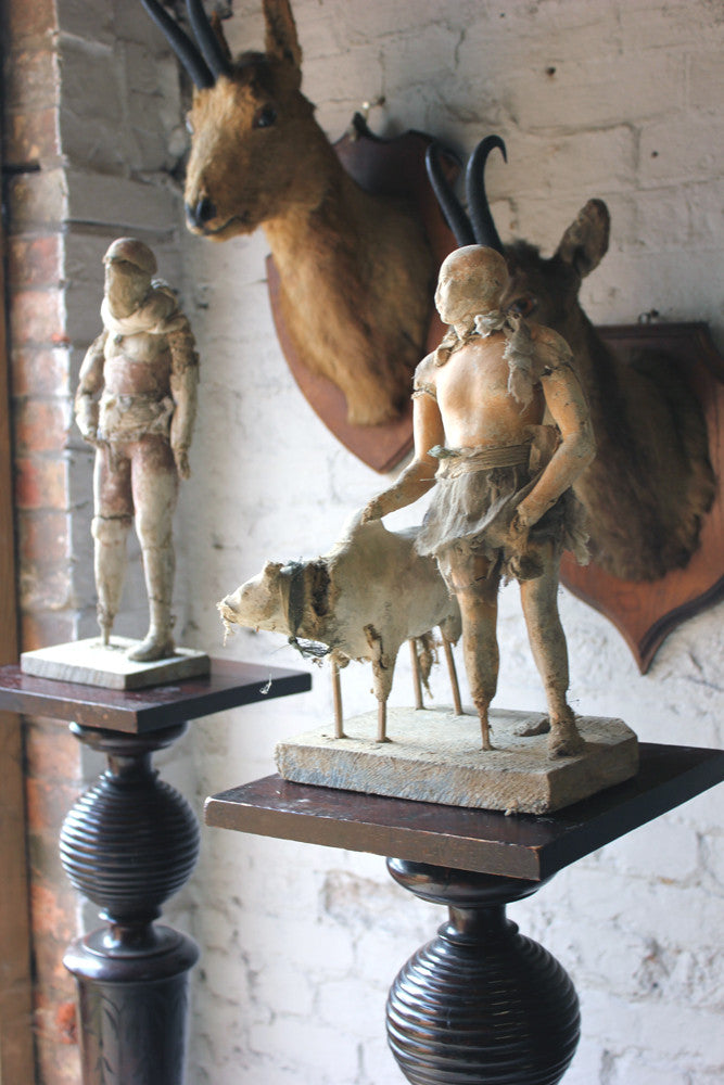 An Interesting Part Set of Mid 19thC Neapolitan Moulded Plaster & Straw Filled Creche Figures