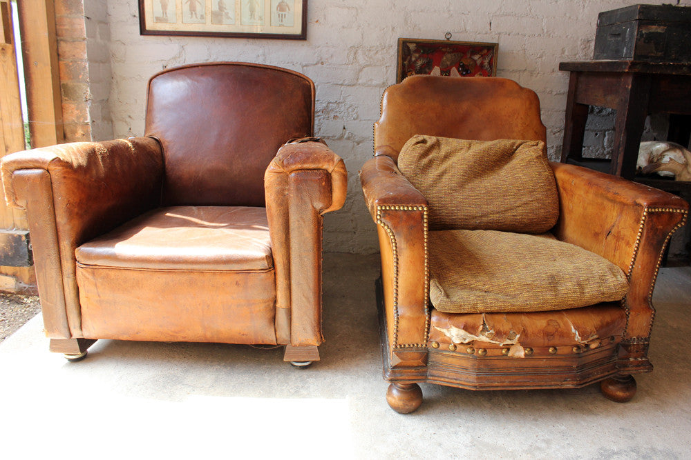 A Mismatched Pair of c.1930 Leather Club Chairs