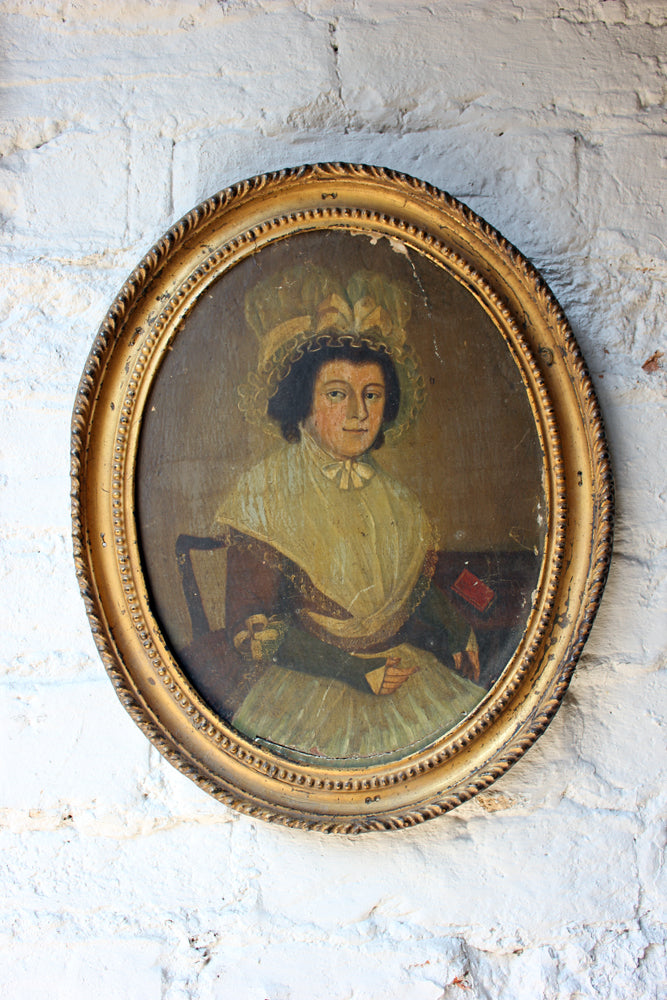 A Good Pair of c.1800 Early Primitive School Oils on Panel of a Gentleman & His Wife