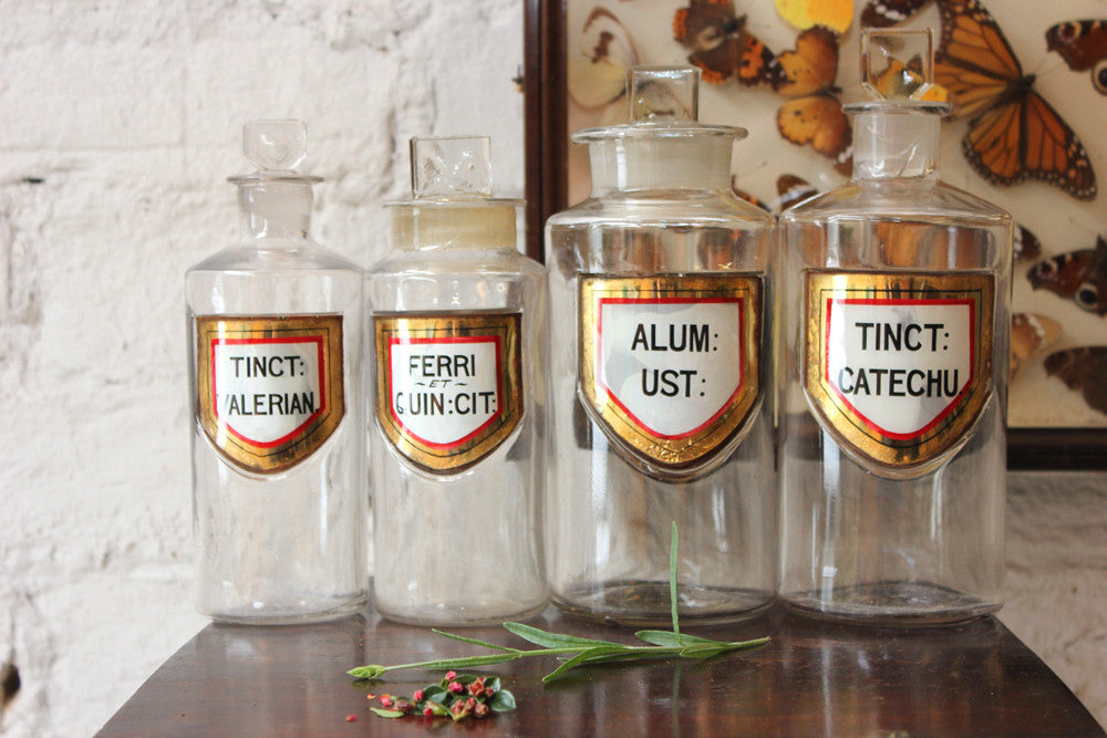 A Fantastic Quartet of Graduating c.1895 Glass Apothecary Bottles