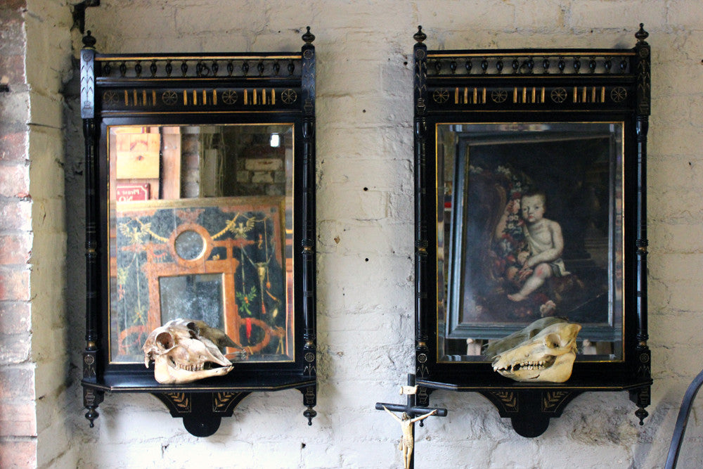 A Good Pair of Aesthetic Movement Ebonised & Parcel Gilt Wall Mirrors