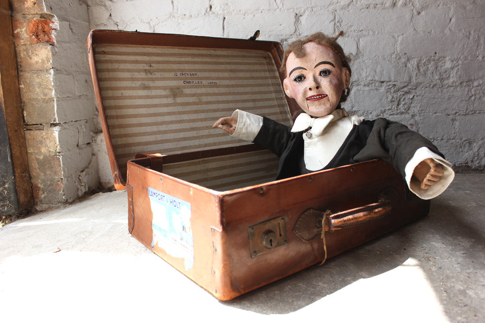 A Wonderful Early 20thC Cased Ventriloquist's Dummy Attributed to Herbert Brighton