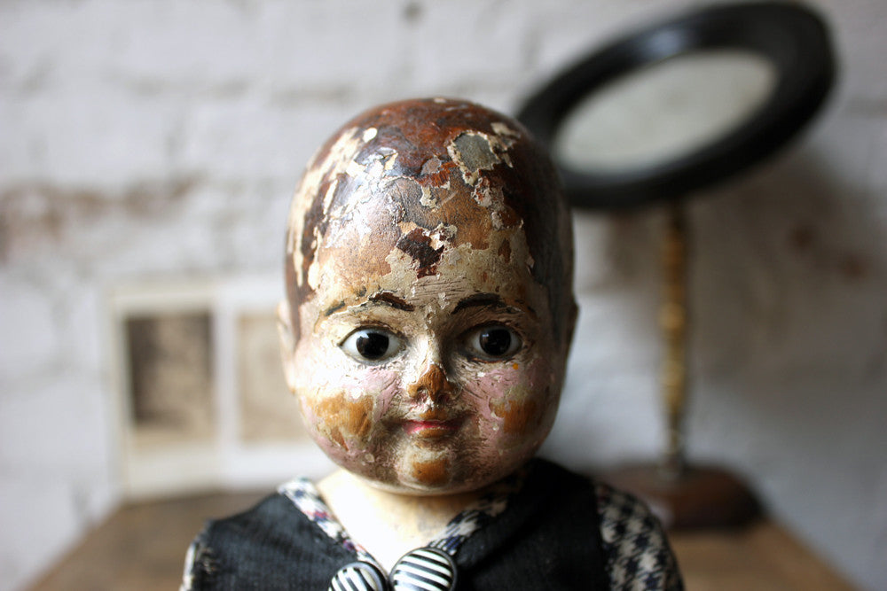 A Wonderful Late 19thC French Carved & Polychrome Painted Doll; 'Emile' with Accompanying Photographs