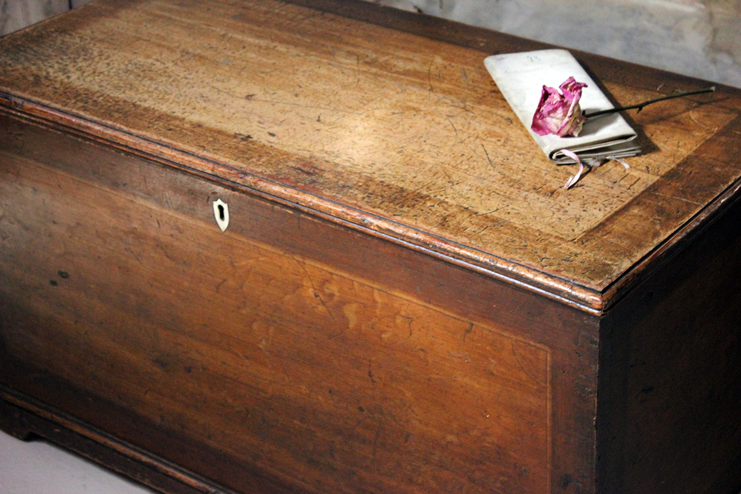 An Early 19thC Painted Pine Blanket Chest; With Memorium Verses for Ann & Thomas Swaby 1824